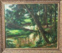 """Kaltwasser, Fritz (1889-?), """"Bachlauf am Waldrand"""", Öl/Lw, re. u. sign. Ca. 55 x 66 cm, gerahmt."""
