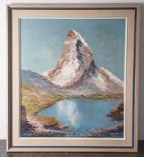 """Arnold-Graboné, Georg (1896-1982), """"Stellisee mit Matterhorn"""", Öl/Lw, li. u. sign. Ca. 80 x 70 cm,"""