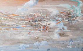 Ustinov, Yuri Semenovich (geboren 1954), Engel über der Stadt, Tempera/Platte, li. u.