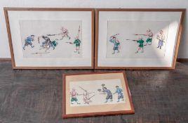 3 Malereien auf Reispapier, China, Ende 19. Jahrhundert/ um 1900, feine Gouachemalerei mit