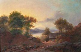Kobell, Wilhelm von (1766-1855), Weite Alpenlandschaft mit Gebirgssee und Schafherde, Öl/Lw., rs.