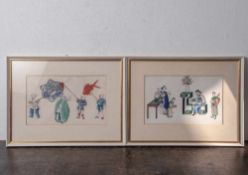 2 Malereien auf Reispapier, China, Ende 19. Jahrhundert/ um 1900, feine Gouachemalerei mit der