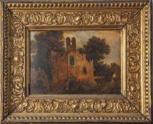 Unbekannter Künstler (19. Jahrhundert), Kapellenansicht in bewaldeter Landschaft, Öl/Malkarton,