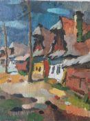 Nagy, Oszkar (1883-1965), Strassenansicht mit Häuserfronten, Öl/Sperrholzplatte, li. u. sign., ca.