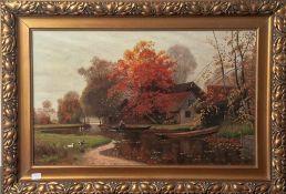Thiemann, C. (19./20. Jahrhundert), Herbstlandschaft mit Hof und Gewässer, 1912, Öl/Lw, li. u. sign.