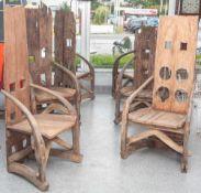 Nachfolgend sechs sehr eindrucksvoll gearbeitete Stühle. Stuhl Prov. wohl Indonesien, aus uralten