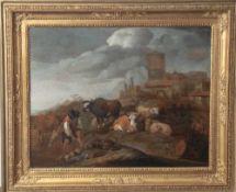 Roos, Johann Heinrich (attr., 1631-1685), Hirte mit seiner rastenden Herde in der Campagna, Öl/Holz,