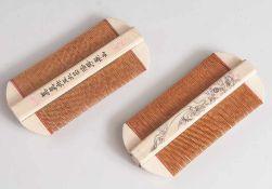 Paar Nissenkämme, China, Ende 19. Jahrhundert/ um 1900, Elfenbein und Holz, m. fein gravierter und