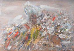 """Ustinov, Yuri Semenovich (geboren 1954), """"Drei Engel"""", Tempera/Platte, re. u. monogrammiert u."""