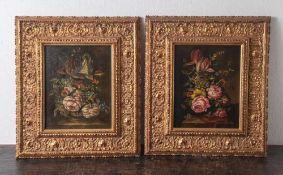 Riemenschneider, Rudolf (geboren 1940), Gemäldepaar: Blumenstillleben, im altmeisterlichen Stil,