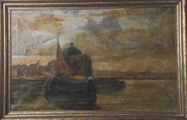 Unbekannter Künstler, 19./20.Jahrhundert, Holländischer Fischkutter vor Stadtansicht, rechts