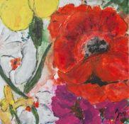 "Jani, ""Sommer"", Acryl/Lw, re. u. sign. Ca. 50 x 50 cm, auf Keilrahmen aufgezogen."