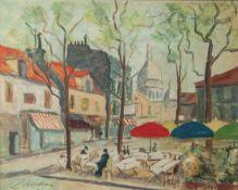 Wohl Landri, Louise (20. Jahrhundert), Marktplatz mit Straßencafe, wohl 1950er/60er Jahre,Öl/Lw. Ca.