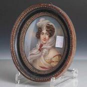 Fein gemaltes Porträt einer jungen Dame im Stil des Biedermeiers gekleidet, wohl 1. Hälfte19.