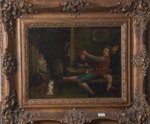 Unbekannter Meister (wohl flämische Schule des 18. Jahrhunderts), Wirtshausszenerie mitdrei Wein