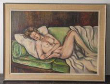 Zammert, Erich (20. Jahrhundert), Liegender weiblicher Akt, Öl/Platte, re. u.monogrammiert, ca. 57 x