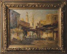 Weber, Rudolf (1872-1949), Orientalischer Markt, Öl/Lw., Basaransicht um 1900, mitfigürlicher