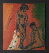 """Unbekannter Maler (20. Jahrhundert), Aktdarstellung, Öl/Hartfaserplatte, unleserl. sign.u. dat. """"("""