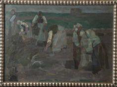 Finkbeiner, Hugo (1879-1951), Frauen bei der Kartoffelernte, um 1900, Öl/Karton, re. u.sign. Ca.