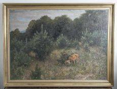 Maffei v., Guido (1838-1922), Rehe auf einer Waldlichtung, Öl/Lw, re. u. sign. Ca. 83,5 x112 cm,