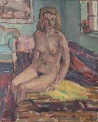 """Steinmetz, Philippe (1900-1987), """"Mädchenakt auf gelbem Tuch"""", Öl/Platte, re. u. sign. Ca.73 x 60"""