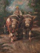 Unbekannter Künstler (20. Jahrhundert), Bauer auf seinem von 2 Ochsen gezogenen Karren,Öl/