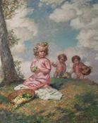 Plöckebaum, Karl (1880-1952), Mädchen mit farbigen Blümchen auf einer sommerlichen Wiese,Öl/Lw.,