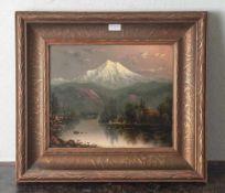 """Barchus, Eliza Rosanna (1857-1949), """"Mount Hood at sunset"""", Öl/Lw auf Holztafel, re. u.sign.,"""