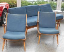 Sitzgarnitur, Deutschland, Entwurf aus den 1950er/60er Jahren, aus massivem Kirschholzgearb.,