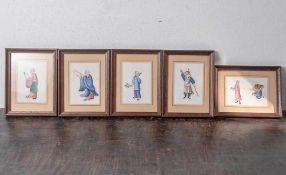 5 figürliche Malereien auf Reispapier, China, Ende 19. Jahrhundert/ um 1900, feineGouachemalerei mit