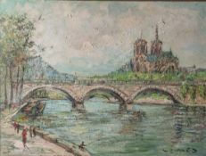 Prescher van Ed, Walter (1916-1988), Paris Notre Dame, 1970er Jahre, Öl/Lw, re. u. sign,rs. bez. Ca.