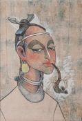 Ronarong, Thanomtup (geb. 1940), Portrait einer jungen Afrikanerin mit Pfeife,Mischtechnik/Platte,