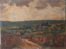 Holtmann, Willi (1908-1984), Ansicht im Rheingau, Öl/Sperrholz, sig. dat. 1930, Gr. 55 x70 cm.