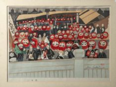 "Sekino, Junichiro (1914-1988), ""Daruma Doll Fair"", Farbholzschnitt, re. u. sign. u. bez.Ca. 46 x"