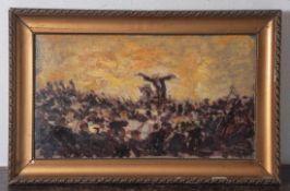 Unbekannter Künstler, Dirigent vor seinem Orchester, Öl/Malpappe, unleserlich sign., Ca.35 x 24 cm.