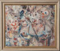 Unbekannter Künstler (20. Jahrhundert), Figuren, Öl/Malkarton, unsigniert. Ca. 32 x 39,5cm,