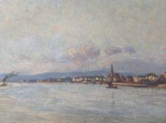 """Glatte, Adolf (1866-1920), rücks. betitelt """"Blick auf den Rhein in Biebrich"""", links u.sign., Gr."""