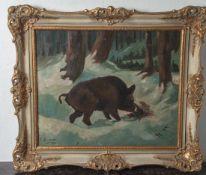 Gemmer, C. (19./20. Jahrhundert), Wildschwein in verschneiter Waldlandschaft, Öl/Lw., li.u. sign. u.