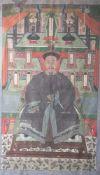 Ahnenbildnis, China, spätes 19. Jahrhundert, Gouache auf Gewebe. Dargestellt ist einverstorbener
