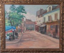 Unbekannter Maler (20. Jahrhundert), Straßenszenerie wohl Paris/Montmartre, Öl/Sperrholz,re. u.