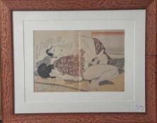 """Kitagawa, Utamaro (1753-1806), """"Erotik"""" Nr 4, Farboffsetdruck. Ca. 31 x 21,5 cm, PP,hinter Glas"""