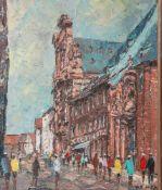 Prescher van Ed, Walter (1916-1988), Ansicht der Augustinerstraße mit AugustinerkircheMainz, Öl/Lw.,