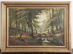 Feldmann, Carl Albert (1894-1966), Waldlichtung mit Bachlauf, Öl/Lw. Ca. 55 x 78 cm,gerahmt, Lw.