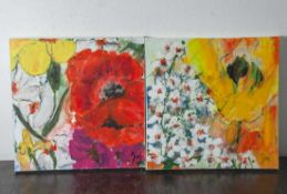 "Jani, ""Blüten"", Acryl/Lw, re. u. sign. Ca. 50 x 50 cm, auf Keilrahmen aufgezogen."