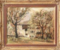 "Kuhn, Max A. (1895-1976), Bauernhaus in Flintsbach, Öl/Malkarton, re. u. sign. ""Max A.Kuhn"", rs."