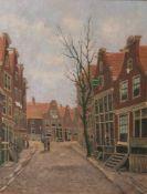 Dort, Willem II van (1905-1995). Straßenansicht in Holland, Öl/Holzplatte, re. u. sign.Ca. 38 x 30
