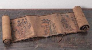 Antikes Rollbild, China, wohl 17./18. Jahrhundert, Seide auf Papier aufgezogen, mitpolychromer