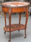 Beistelltischchen, im Barockstil, wohl Italien, 20. Jh., mit Tropenhölzern furniertesMöbel mit