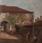 Questinaux, Jos. (1805-1881), Innenansicht eines Gutshofes in der Provence, Öl/Holzplatte,Gr. 42 x