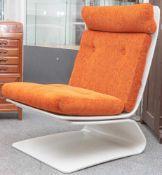 COR Sessel, Entwurf Peter Ghyczy, 1960er/70er Jahre, Freischwinger, orange-roter Bezug. H.ca. 91 cm,
